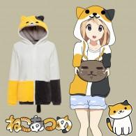 เสื้อกันหนาวแมวสีเหลือง ขาว ดำ  Neko atsume